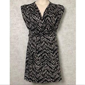 H&M Black and White Faux Wrap Dress